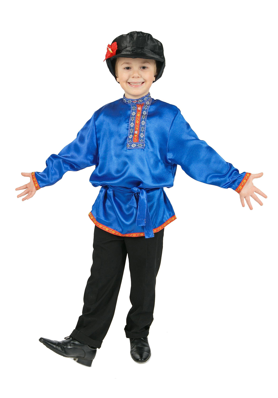 Косоворотка для детей синяя (S)  белая льняная косоворотка для детей l