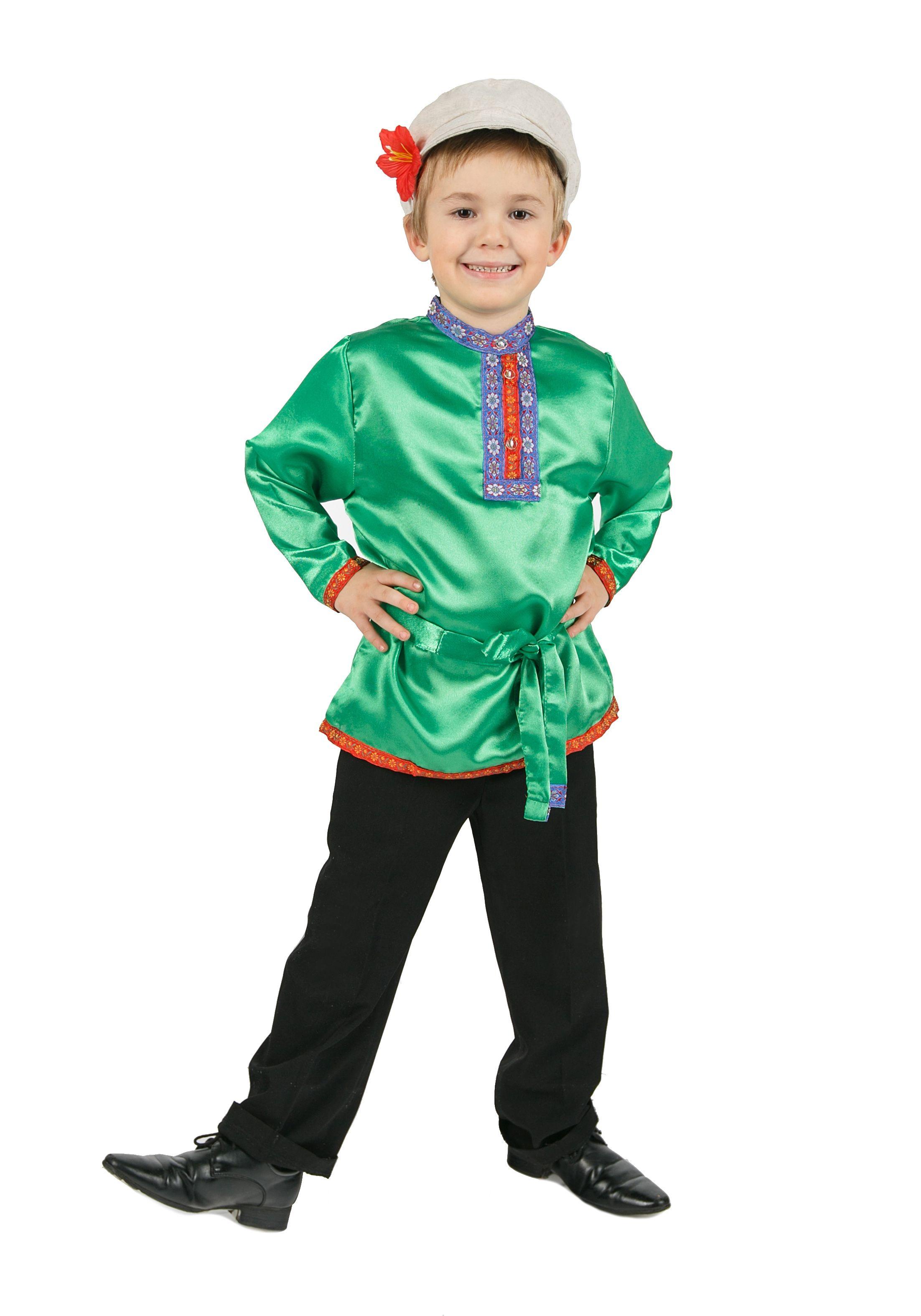 Косоворотка для детей зеленая (XS)