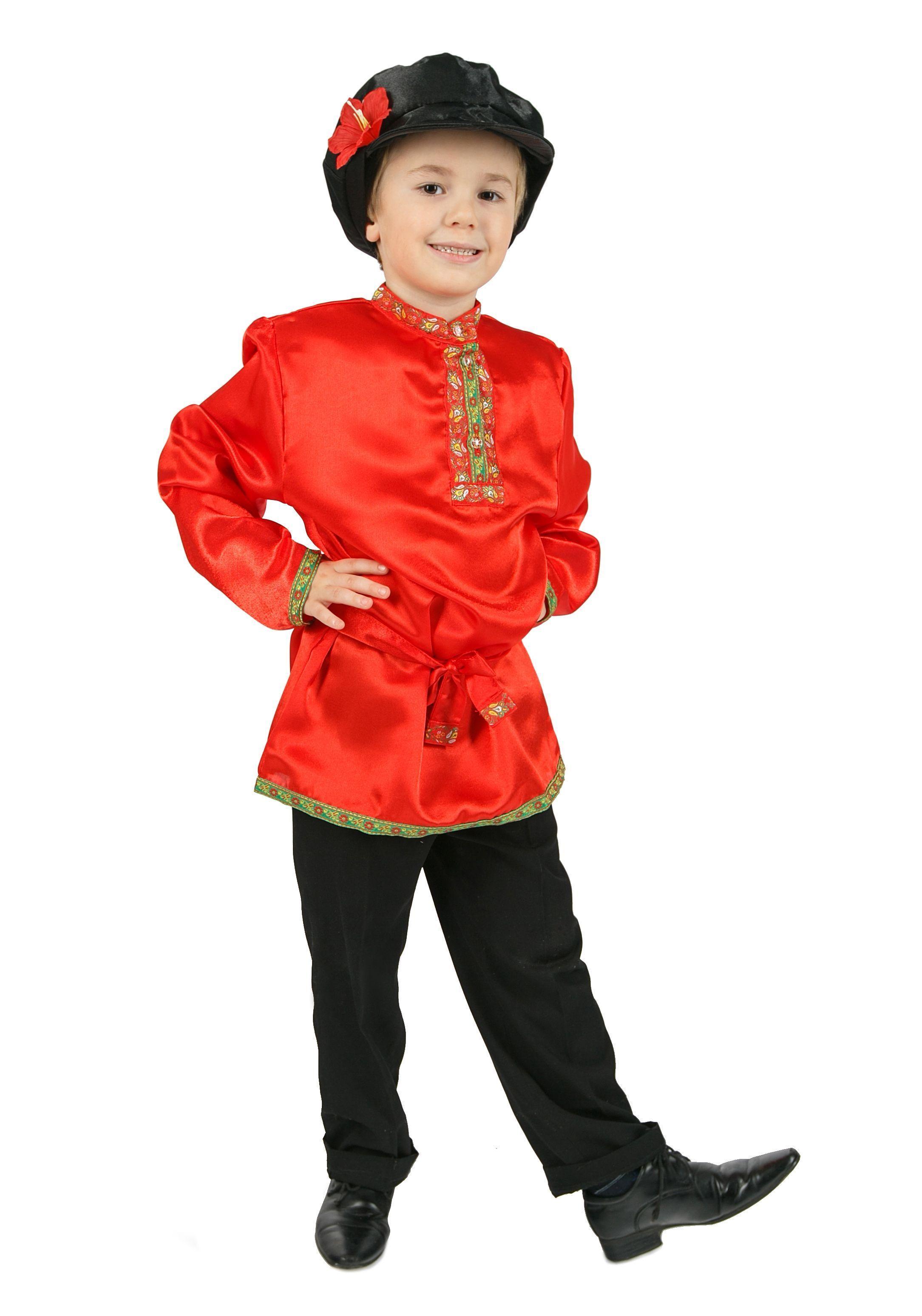 Косоворотка для детей красная (S)  белая льняная косоворотка для детей l