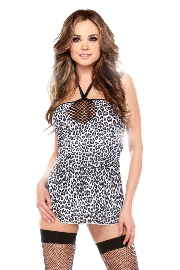 Леопардовое черно-белое платье (46)