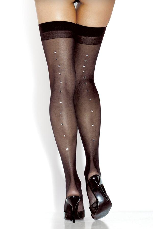 Черные чулки со стразами (42-50) чулки pierre cardin чулки