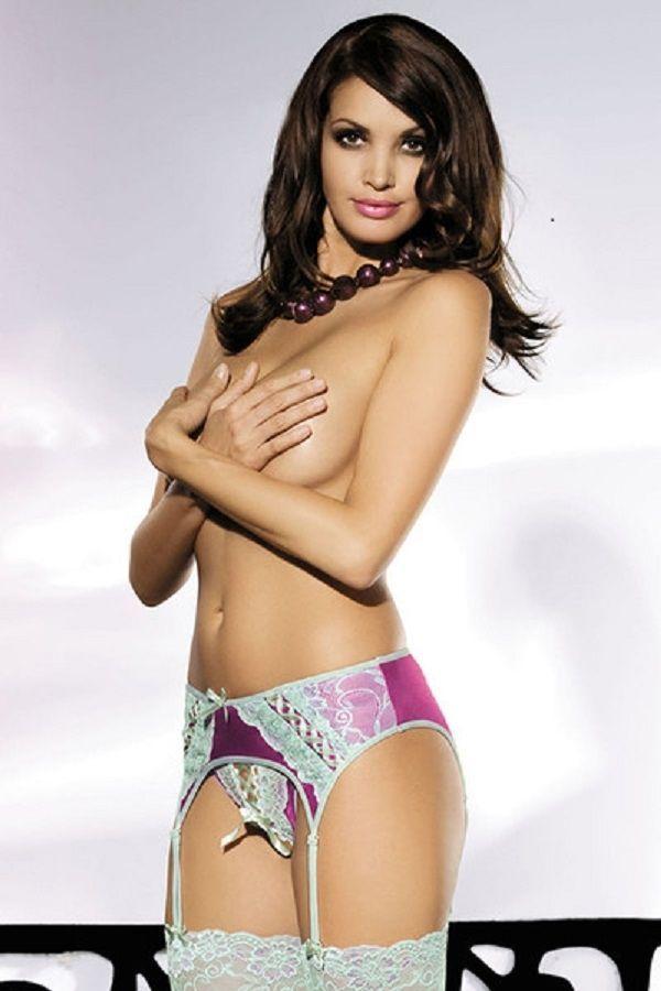 Фиолетовый пояс для чулок (42) Obsessive Lilac garter belt