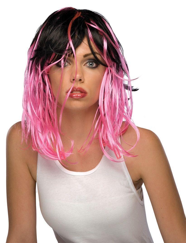 Черно-розовый парик парик для волос
