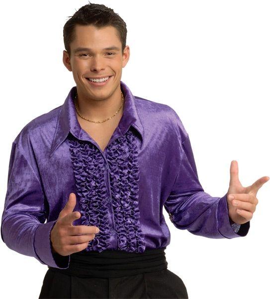 Фиолетовая мужская рубашка Диско (52) - Ретро, р.52