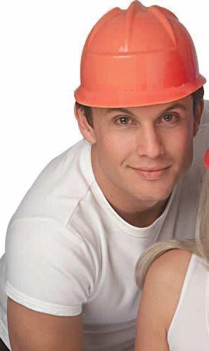 Оранжевая строительная каска (UNI) - Шлемы
