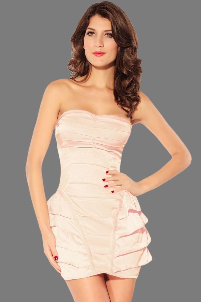 Персиковое платье со сборками (48) - Ретро, р.48