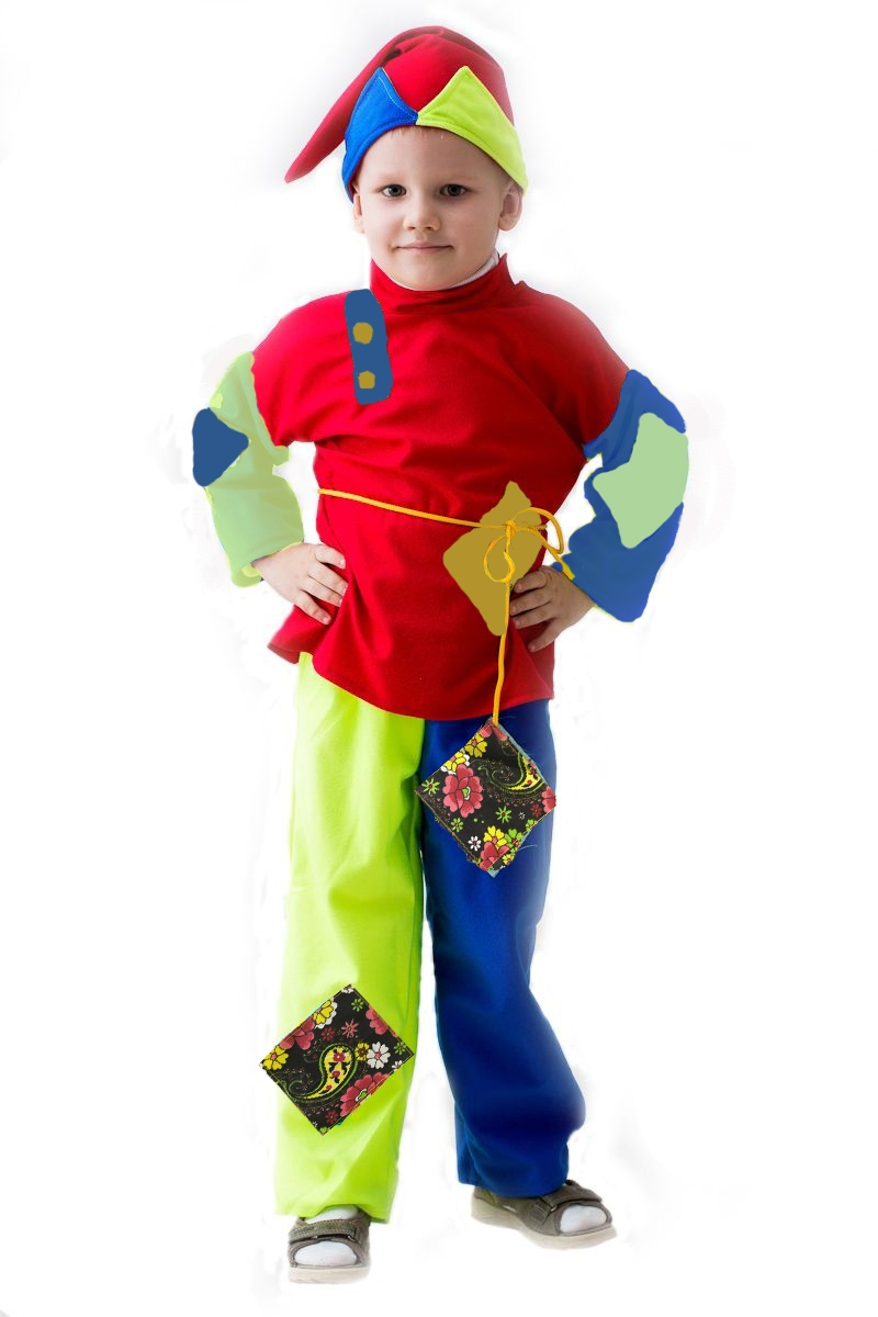 Разноцветный детский костюм Скомороха (24)