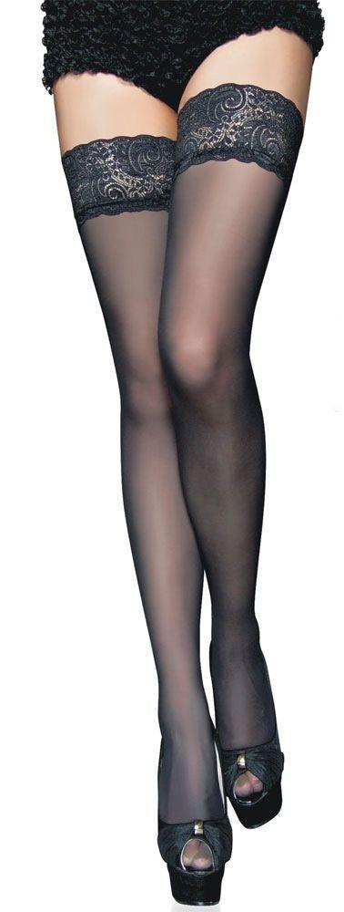 Чулки черные с кружевной резинкой (40-44) чулки seven til midnight большого размера с кружевной резинкой xl телесный