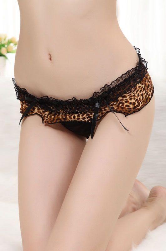 Кружевные леопардовые стринги (40-44) -  Трусики