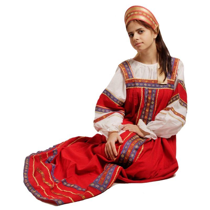 Красный сарафан Забава (42) - Национальные костюмы, р.42