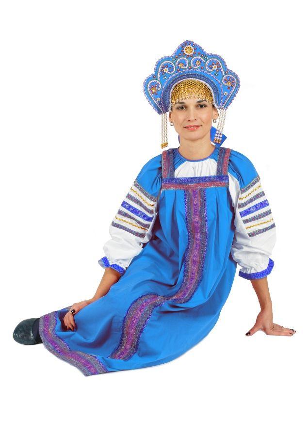 Бирюзовый сарафан Дуняша (42) - Национальные костюмы, р.42