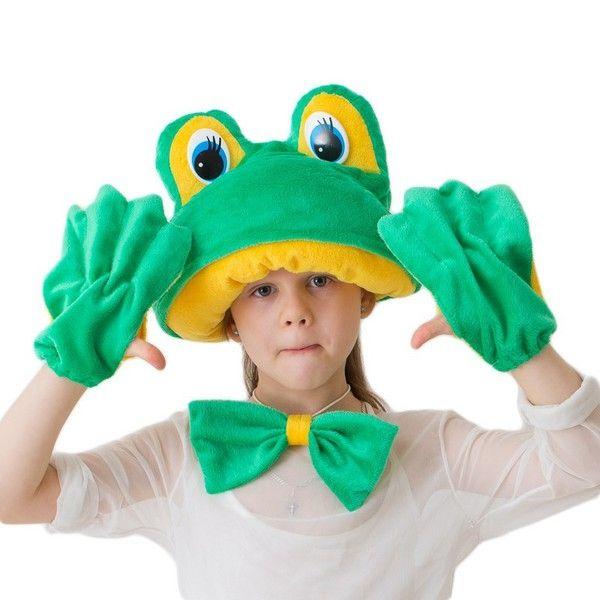 Комплект лягушки эконом (46) перчатки без пальцев шерстяные с рисунком зеленые