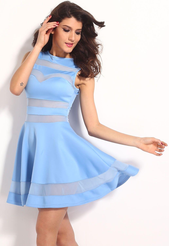 Голубое прозрачное платье (44) -  Коктейльные платья