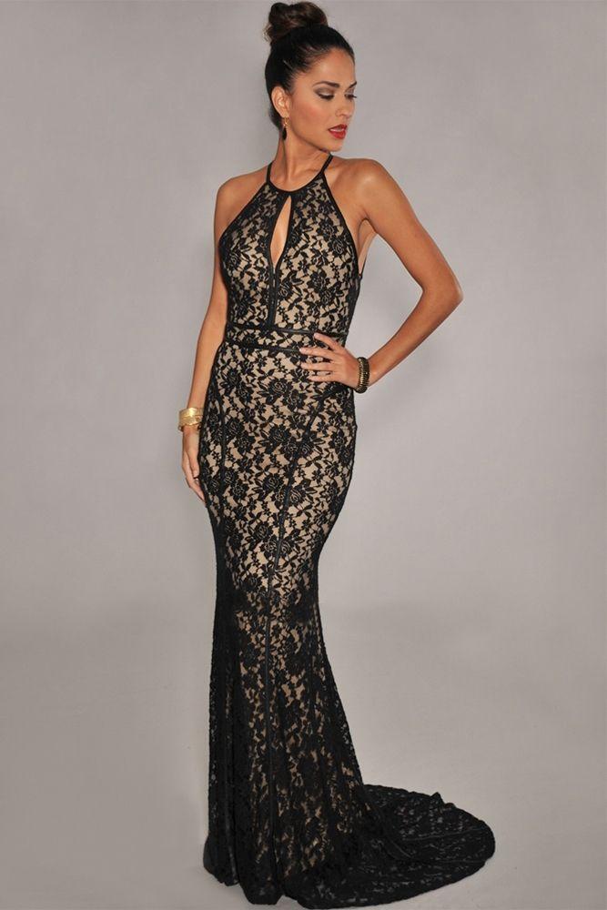 Кружевное платье в пол 46