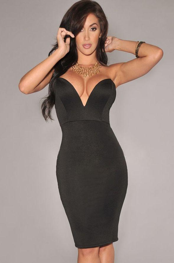 Черное платье с V-вырезом (44)