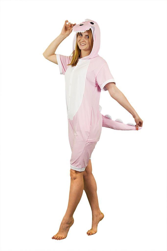 Пижама-кигуруми Розовый динозавр с шортиками (50) - Сказочные герои, р.50