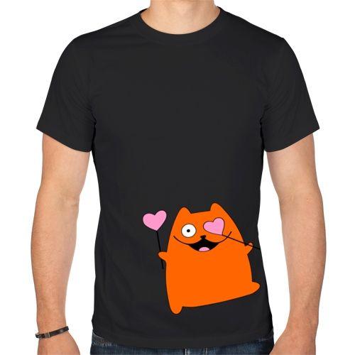 Мужская футболка Кот с сердечками (XL) - Футболки с принтами