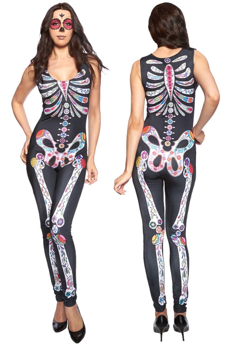 Женский комбинезон Цветной скелет (46)