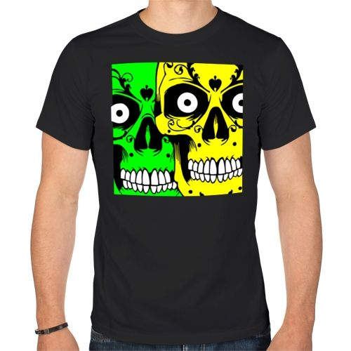 Мужская футболка Цветные черепки (50) - Футболки с принтами, р.50