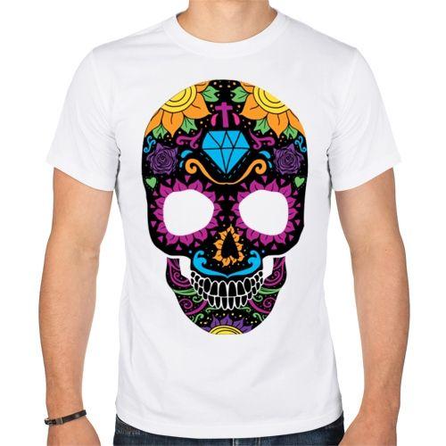 Мужская футболка Цветной череп (50) - Футболки с принтами, р.50