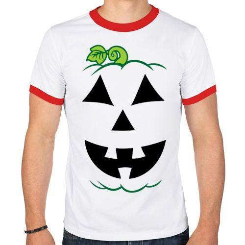 Белая футболка тыква на Хэллоуин (50) - Аксессуары на Хэллоуин, р.50