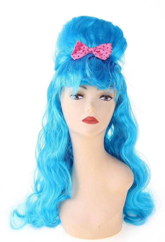 Голубой парик с начесом и бантом (UNI) фиолетовый парик дамочки uni