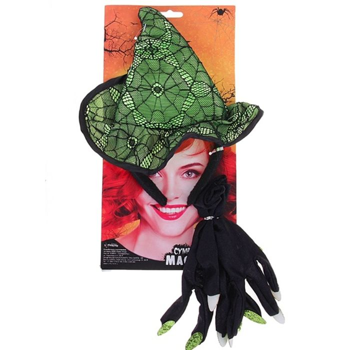 Зеленый набор ведьмы (UNI) мини шляпка в горох uni