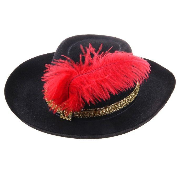 Черная шляпа с красным пером (UNI) -  Исторические костюмы