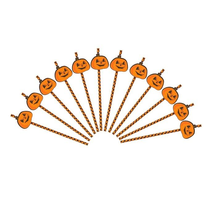 Набор трубочек для коктейля Тыква - Аксессуары на Хэллоуин
