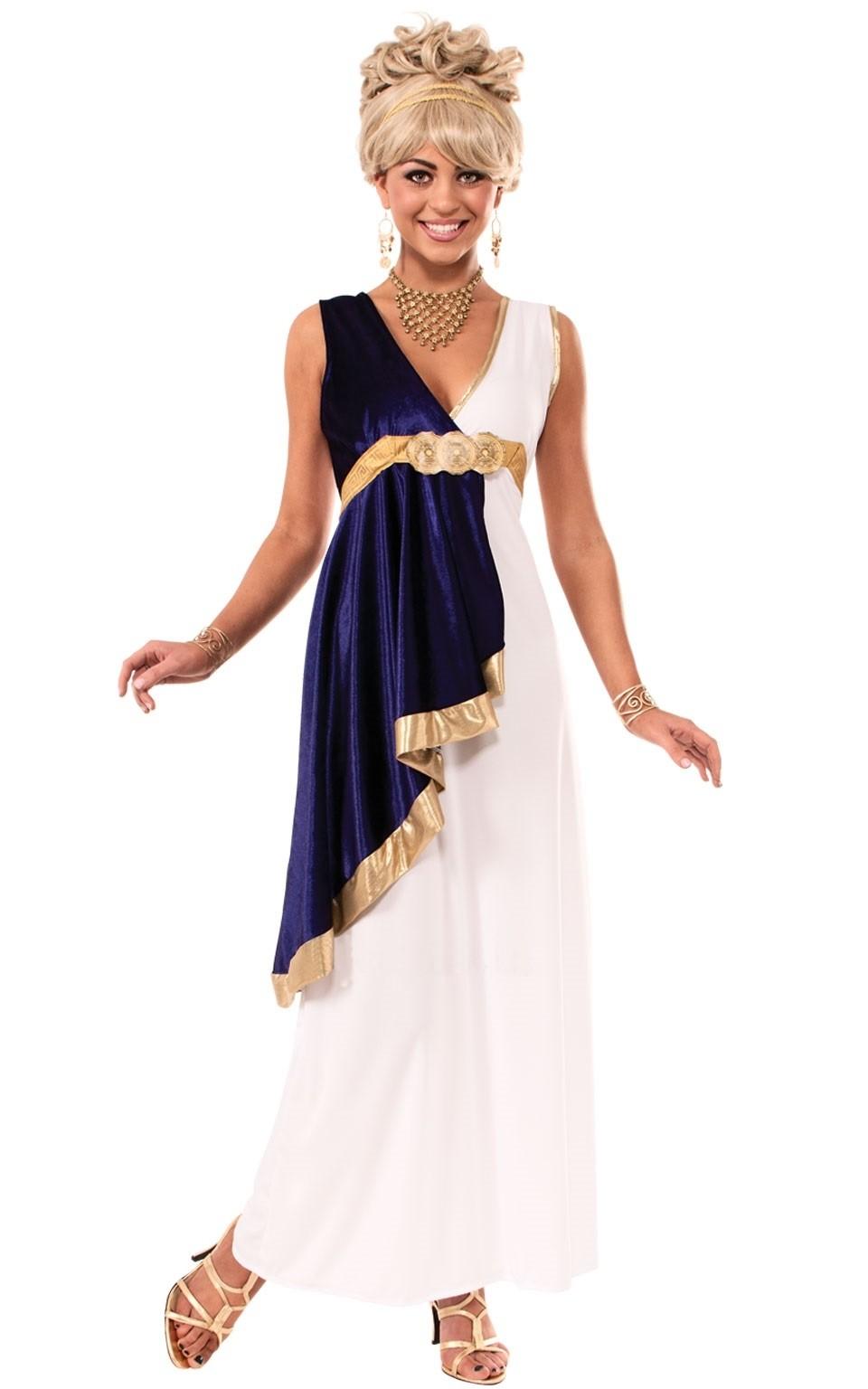 Костюм греческой девы (42-50) платье barkito солнечный берег 2 белое в синюю полоску и с синей отделкой