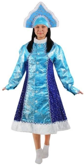 Атласный костюм Снегурочки (46-48) костюм серебристой снегурочки 46 50