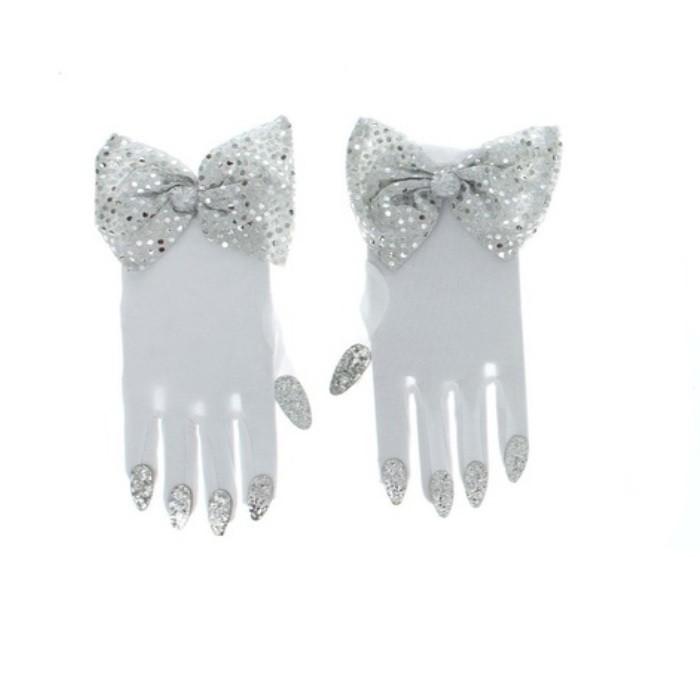 Перчатки с бабочкой белые (UNI)