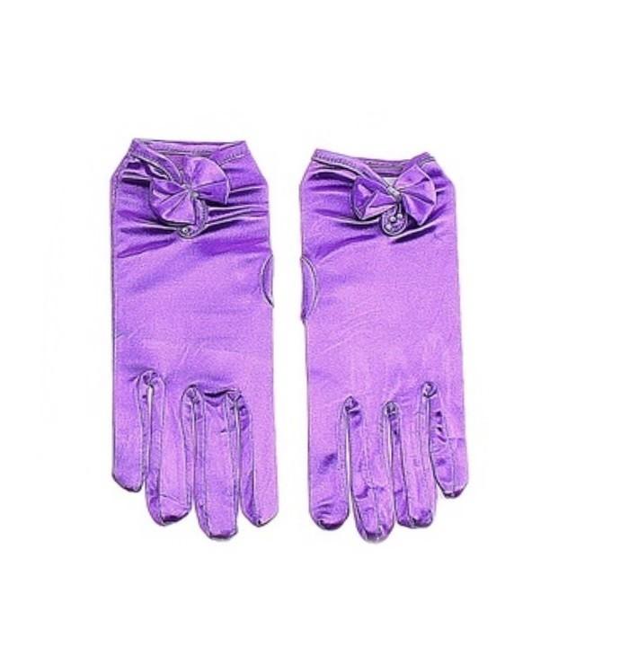 Фиолетовые перчатки с бантиком (UNI) детские перчатки авроры uni