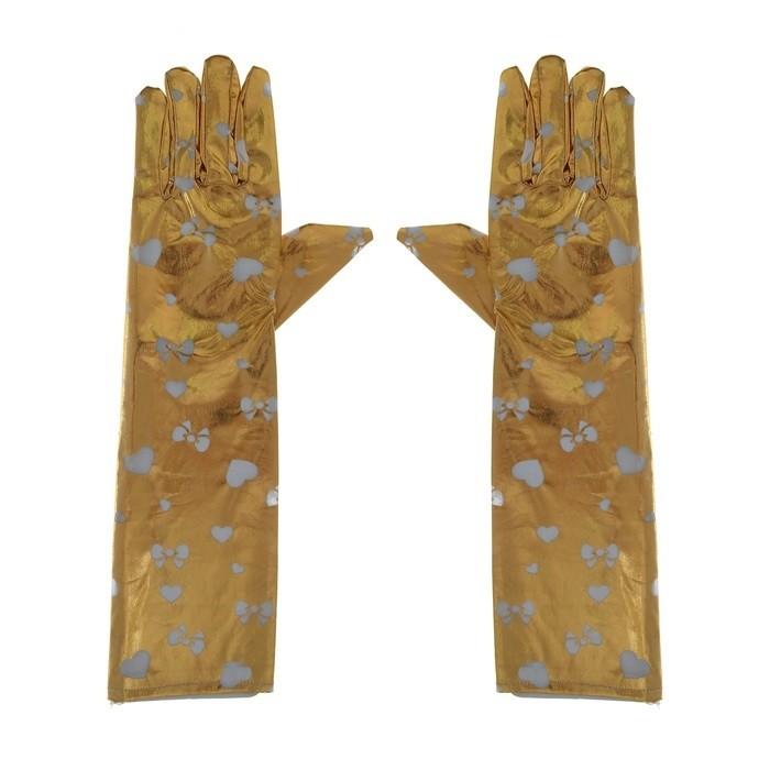 Золотистые длинные перчатки (UNI) детские перчатки авроры uni