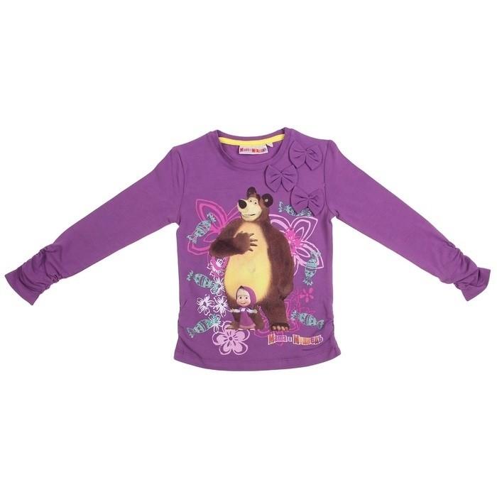 Фиолетовая футболка для девочек Маша и Медведь (30) - Сказочные герои, р.30