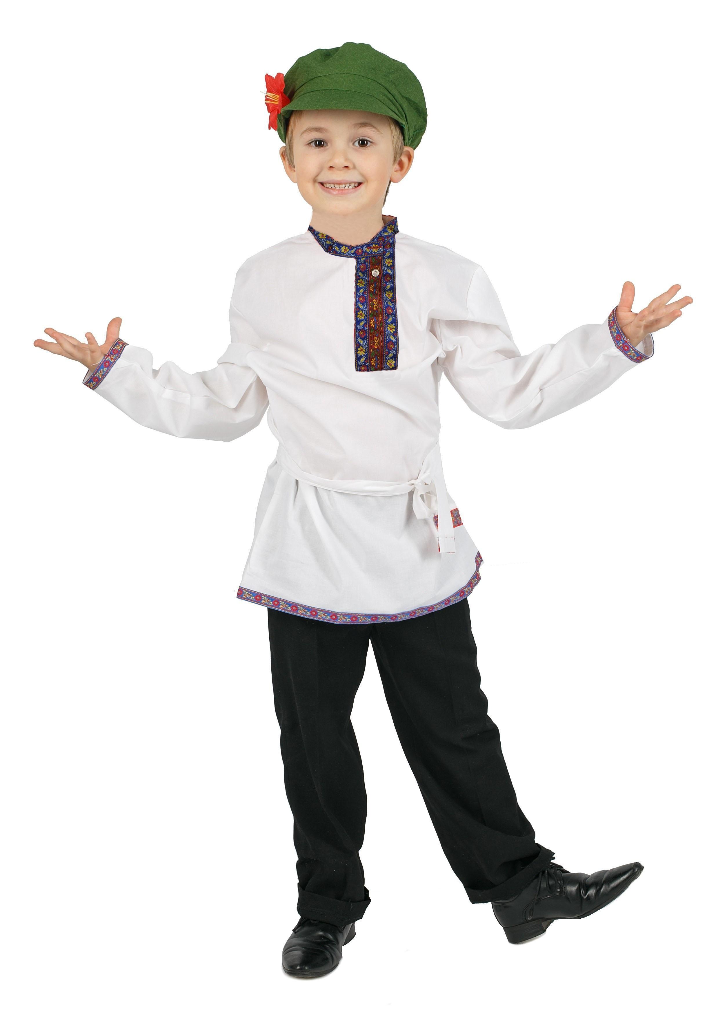 Белая льняная косоворотка для детей (L)  белая льняная косоворотка для детей l