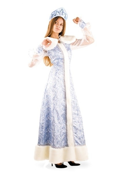 Шелковый костюм Снегурочки (44) костюм снегурочки конфетки 40 44