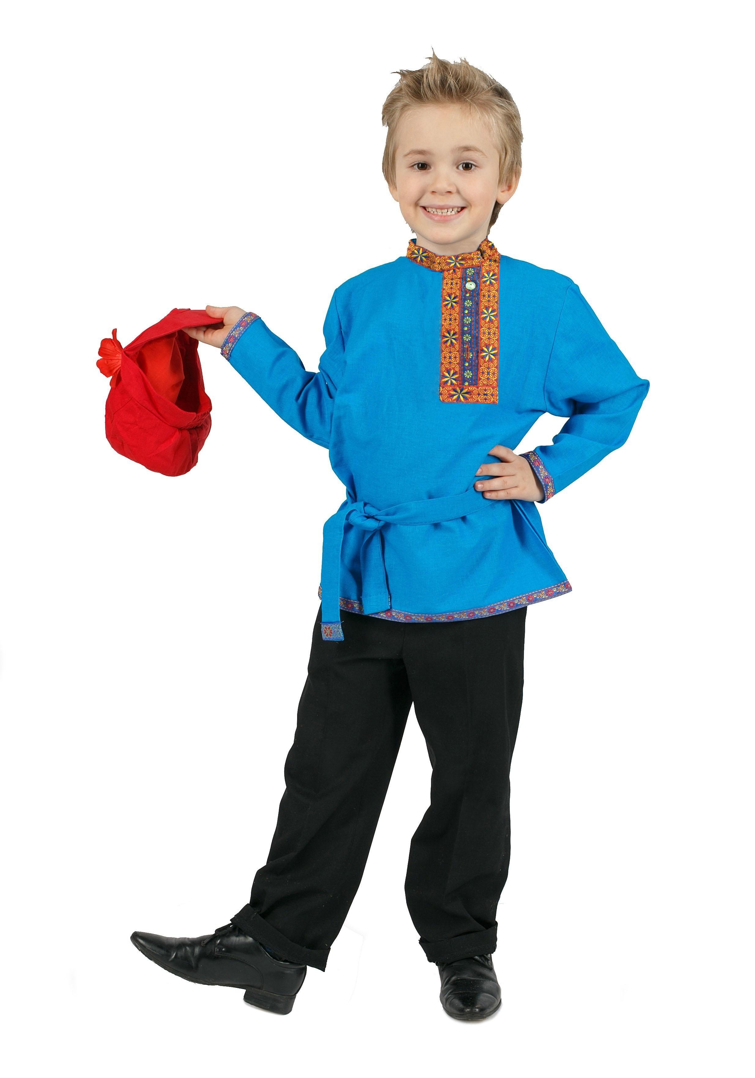 Купить со скидкой Льняная детская бирюзовая косоворотка (28-30)