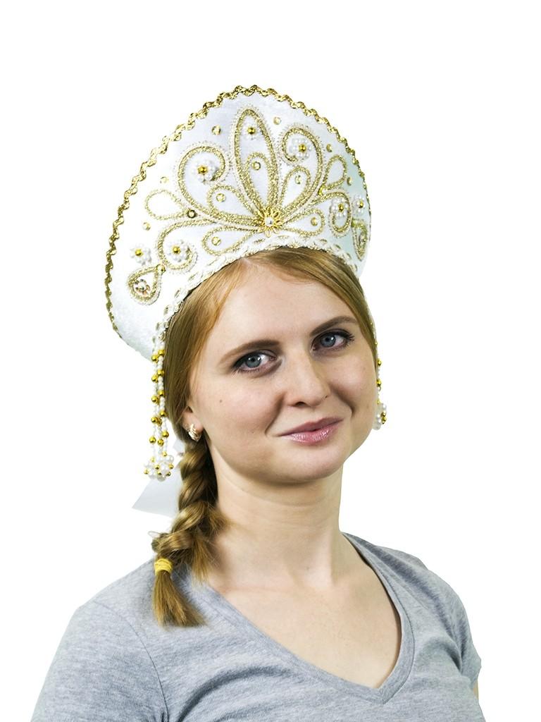 Белый кокошник Девичий (UNI) -  Национальные костюмы