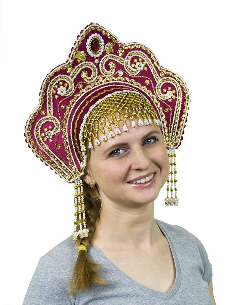 Бордовый кокошник Фантазия (UNI) -  Национальные костюмы