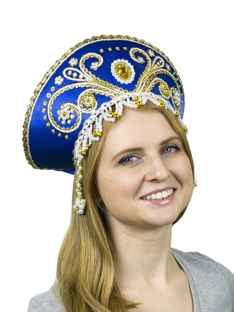 Синий кокошник Княжна с золотом кукла княжна