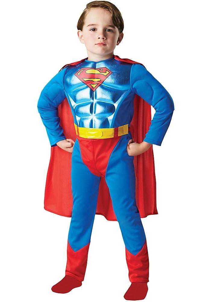 Купить со скидкой Детский костюм Супермена с мышцами (28-30)