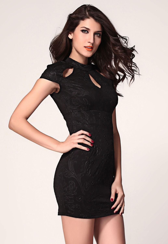 Черное узорчатое платье с вырезами (44) Mia Lover LC21076-2