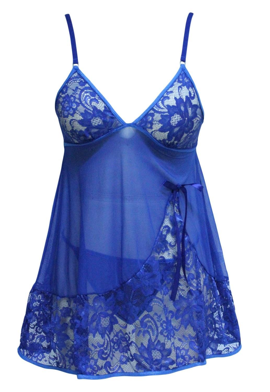 Синий кружевной бейбидолл (46) бейбидолл полупрозрачный с бантом на груди 46