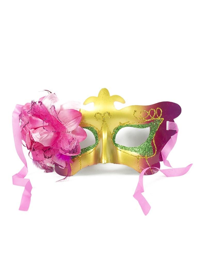 Карнавальная маска с ярким розовым цветком (UNI) плащ и маска штурмовик uni
