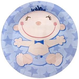 Голубые тарелки С днем рождения Малыш (UNI) бумажные тарелки праздничный торт uni
