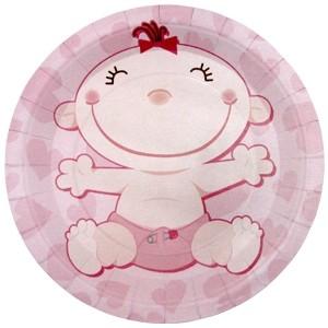 Розовые тарелки С днем рождения Малыш (UNI) бумажные тарелки праздничный торт uni