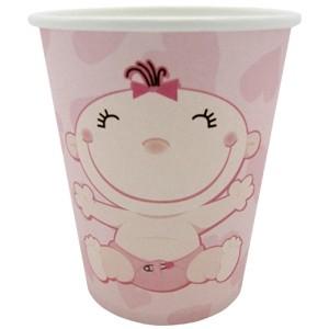 Розовые стаканы С днем рождения (UNI) с днем рождения иллюстр