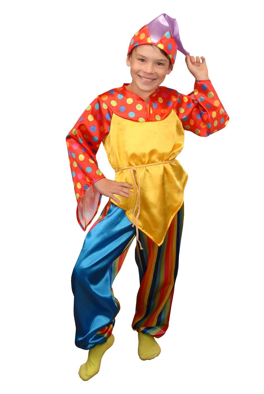 Яркий костюм скомороха (36) детский костюм озорного клоуна 34