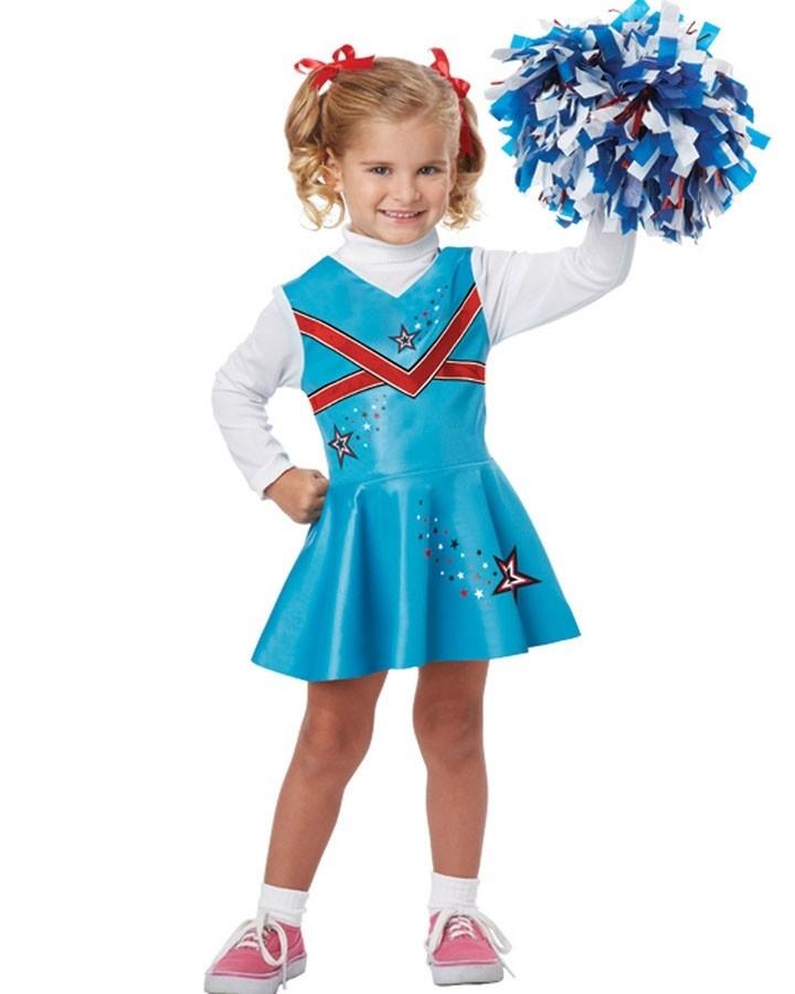 Детский костюм чирлидерши (28) платье голубое в белый горошек
